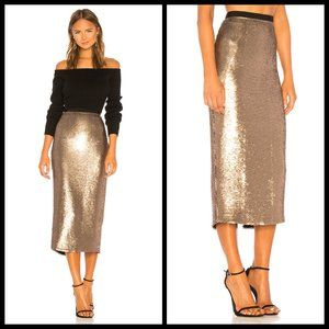 💕CINQ A SEPT💕 Sequin Paula Skirt ~ Pewter